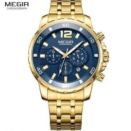 ギル メンズ ステンレス スチール クォーツ腕時計 ビジネス クロノグラフ 防水腕時計 海外大人気 ゴールド