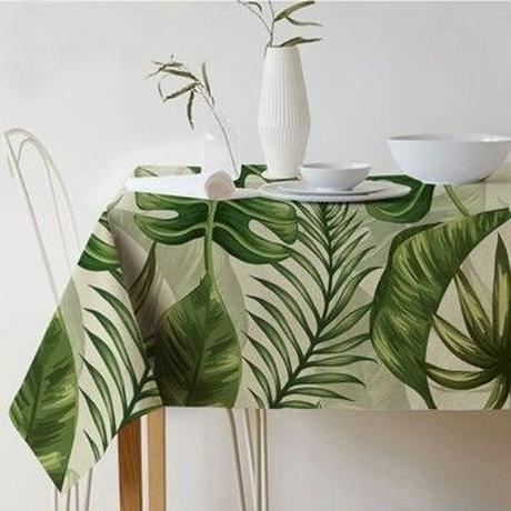 テーブルクロス 長方形 熱帯植物プリントテーブルクロス エレガントなテーブルカバー