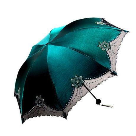 美しい女性 レース傘 uv 黒コーティング 日傘折りたたみ傘 プリンセスレース傘