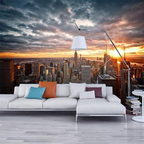 美しいニューヨーク市 日没 風景アート 3D 壁画 ダイニングルーム ホーム インテリア