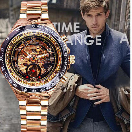 ベゼルゴールデン腕時計 メンズ腕時計トップブランド高級時計 スケルトン腕時計