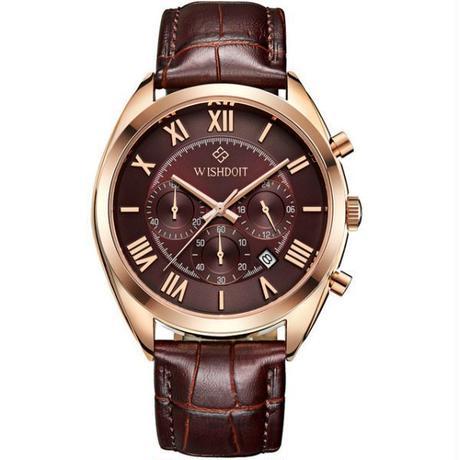 Wishdoit メンズビジネス防水クォーツ時計 トップブランド スポーツ腕時計 カジュアル 軍事ローズゴールド