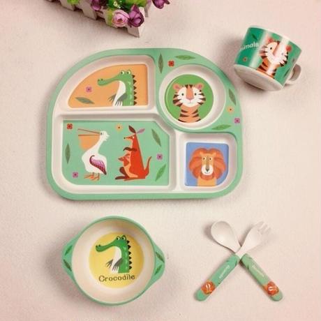竹繊維 子供食器セット 赤ちゃん 給餌皿 ボウル カップ フォーク スプーン 漫画 動物 子供食器