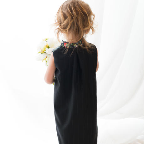 Liberty+wool dress/Black (XS 80cm)