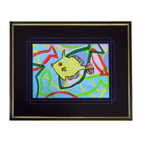 水彩画レプリカ・高質仕上げ アミメハギ