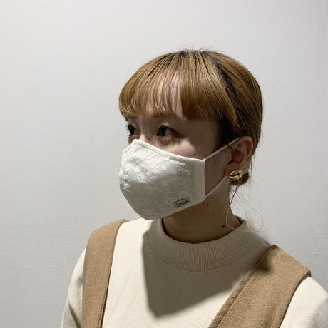小花柄レースマスク(STL074 BEIGE)