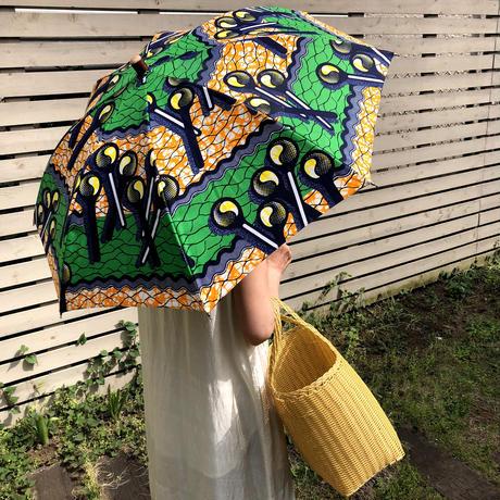 BonBonStore 日傘 アフリカンバティック(緑×黄色)