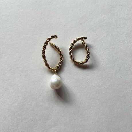 Luiny/Interlaced Pearl Ear Cuff Set