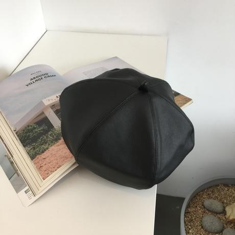 フェイクレザー ベレー帽