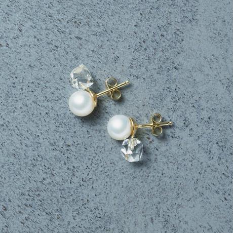 shuo13017 Pearl × Crystal Piercing(K18)