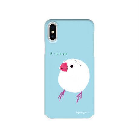 スマホケース☆名入れ対応〈文鳥〉ブルー・ピンク