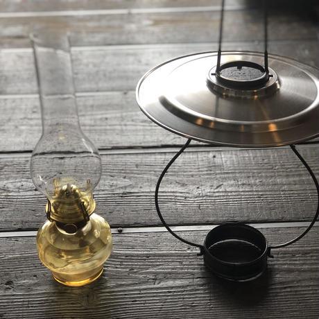 レトロ吊りランプ アンバー油壺 5分ワイド芯