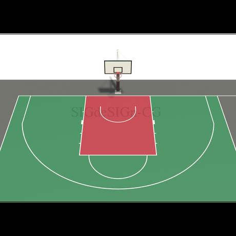 バスケットボールのコートを上から俯瞰