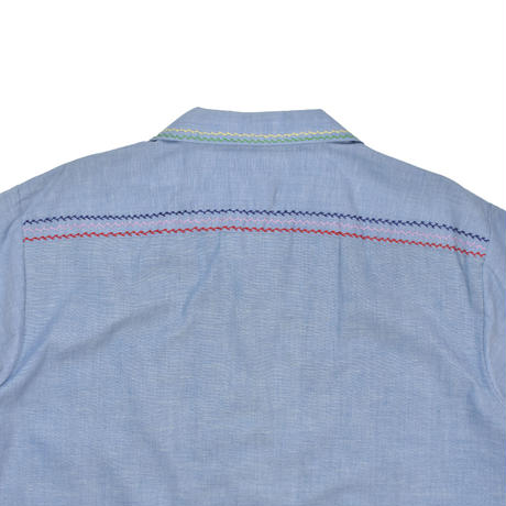 USED  70'S EMBROIDERY CHAMBRAY S/S