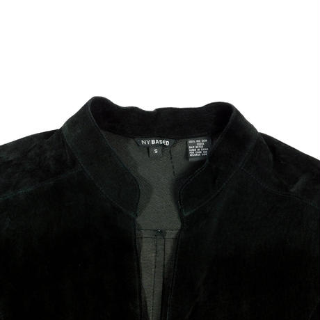 """USED """"NY BASED"""" KEY NECK SUEDE PULLOVER SHIRT"""