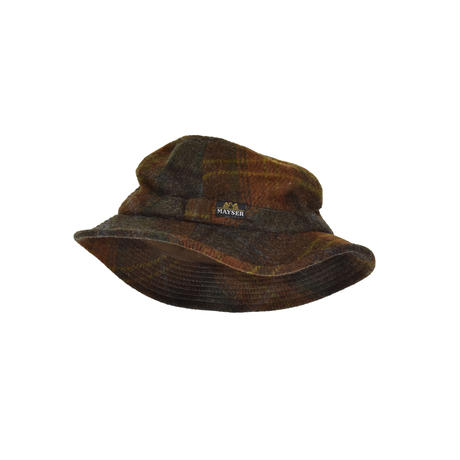 """USED """"MAYER"""" MOHAIR BLEND PLAID HAT"""