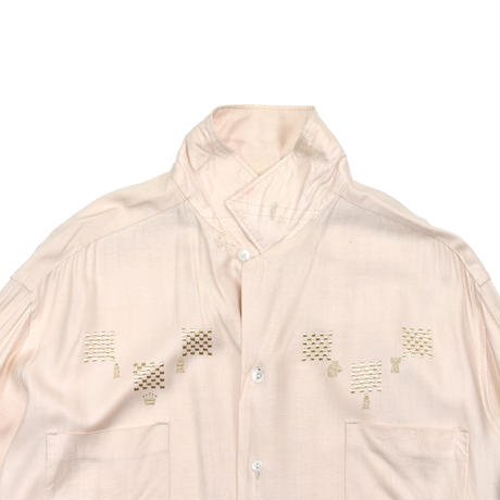 "VINTAGE ""50-60'S HENRY AMBER"" RAYON EMBRODERY SHIRT"