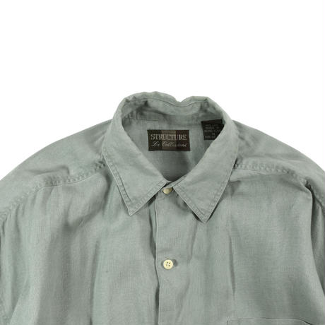 """USED """"90'S STRUCTURE"""" SOLID COLOR BIG LINEN SHIRTS"""