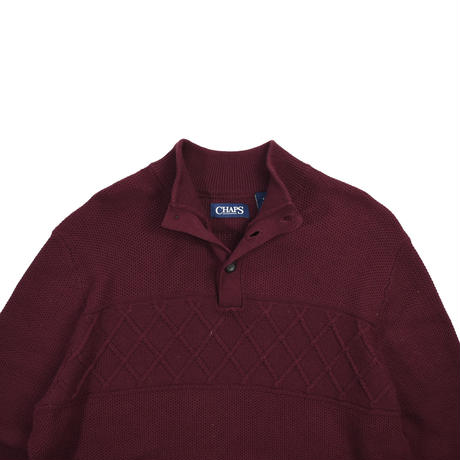 """USED """"CHAPS"""" HALF BUTTON MOCK COTTON KNIT"""
