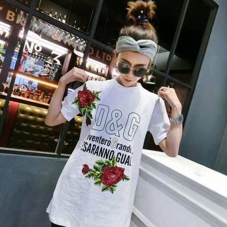大人気【ドルチェ&ガッバーナ/Dolce&Gabbana 】ローズ 柄ワンピース風半袖 人気 バラ柄上下セットアップ