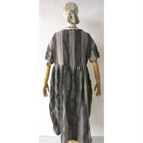 CHSS19-3752B(AL)  ANTIQE LINEN HARD WASH WIDE STRIPE TWIST KNECK DRESS LONG(110C)