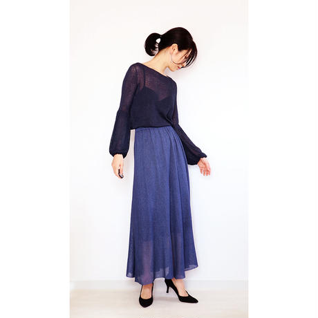 ◆即納◆Sabik[サビク] ギャザー・マキシ・スカート / ナイト・ブルー