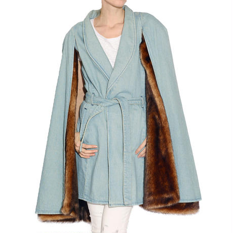 CAPE DENIM BROWN MINK FUR COAT