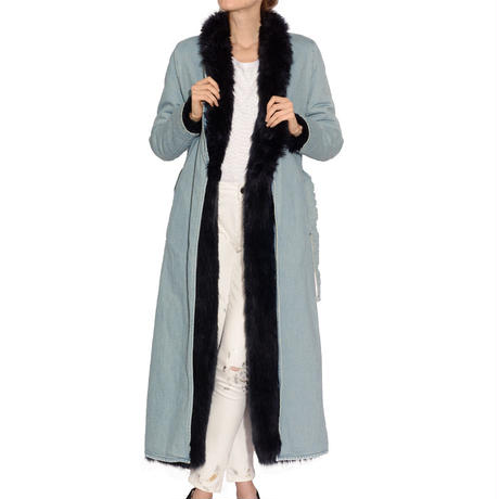 SUPER LONG DENIM FOX FUR COAT