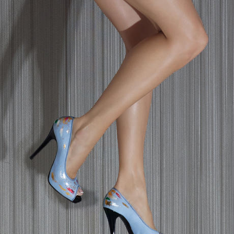 COLORFUL METALLIC PEEP TOE HEELS