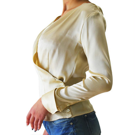 SILK WRAP BLOUSE GOLD