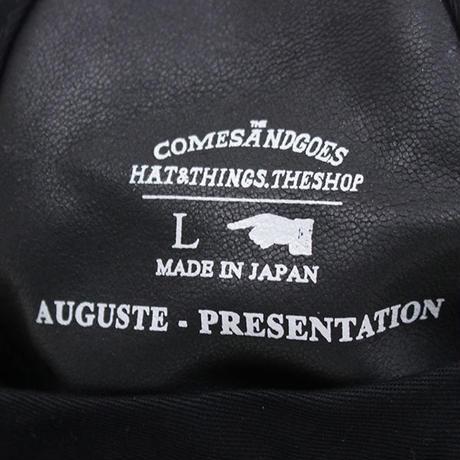 Auguste Presentation  オーギュスト プレゼンテーション ×  COMES AND GOES カムアンドゴーズ 両面銀面革/カンガルーファー  レザーキャップ BLACK