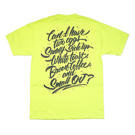 "LIXTICK DINER リックスティック ""BREAKFAST"" T-SHIRT SAFETY GREEN by ZENONE with MIX CD"