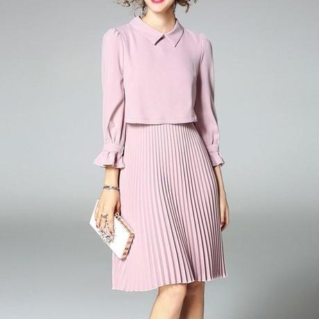 [ドレス ミディアム]♪アコーディオン プリーツスカート シャツドレス(1color)(4size)♪