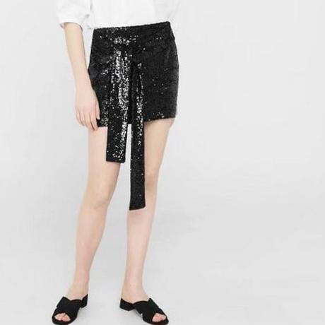 [ボトムス スカート]♪スパンコール ミニ スカート ブラック(S,M,L)♪