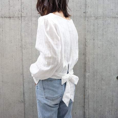 BACK RIBBON COTTON BLOUSE