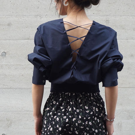 LACE UP  BALLOON BLOUSE