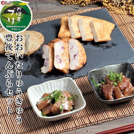 大分りゅうきゅう・豊後天ぷらセット 真鯛 ぶり はも天 タコ天 じゃこ天 練りわさび 大分県 杵築市