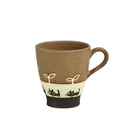 黒ネコのさんぽ マグカップ(ブラウン)