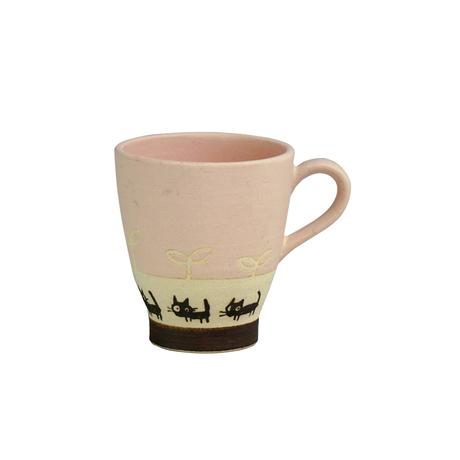 黒ネコのさんぽ マグカップ(ピンク)