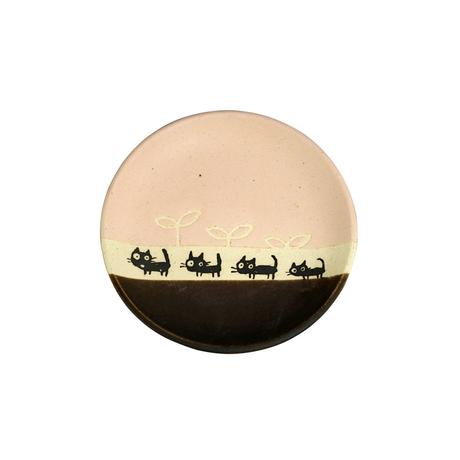 黒ネコのさんぽ 13cmソーサー(ピンク)