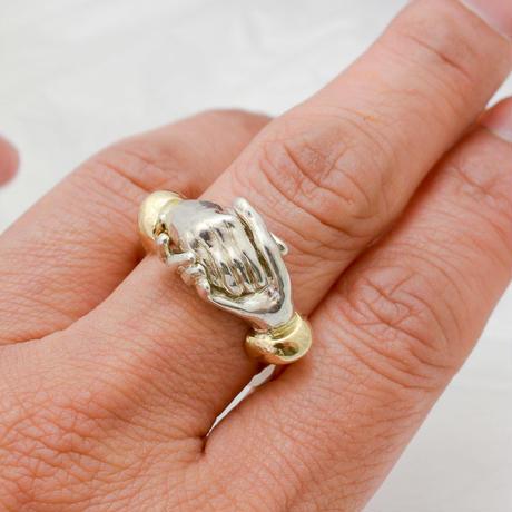 【受注製作】握り合う手の指環 Silver950-K18