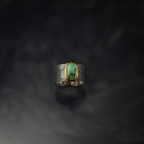 ボルダーオパールの指環 silver925/K22YG