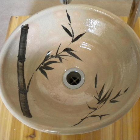 白萩竹絵変形手洗い鉢