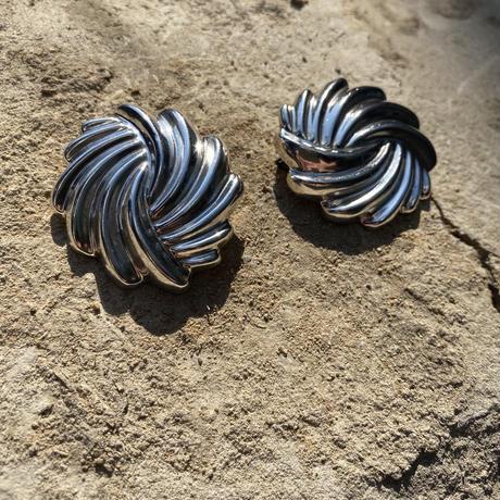 Swirl Circle silver earring
