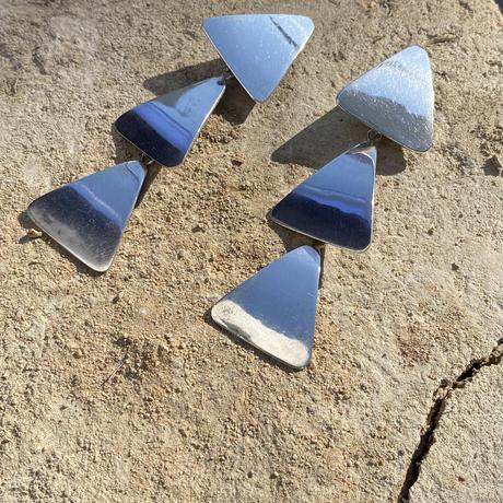 Triplets triangle silver earring