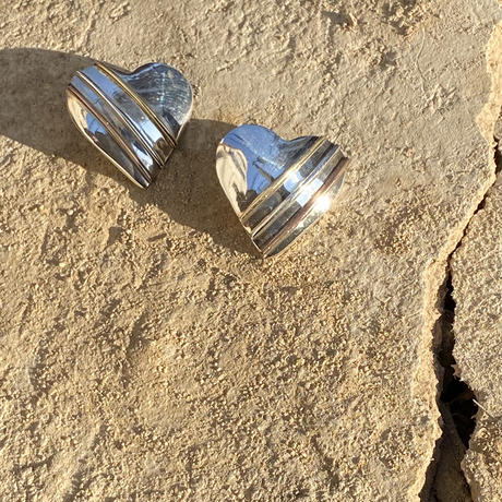 Heart Shaped with Gold Line silver pierce
