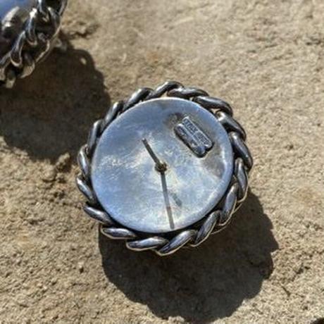 Rope Border Circle Studs silver pierce