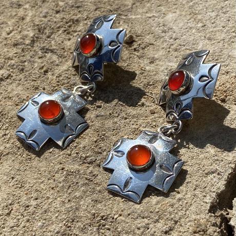 Double Cross Stone studs silver pierce