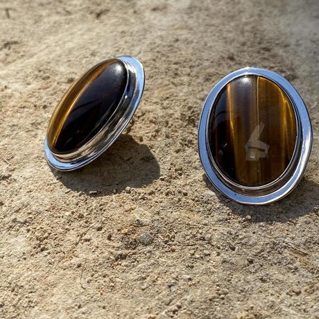 Tigers Eye Stud silver pierce