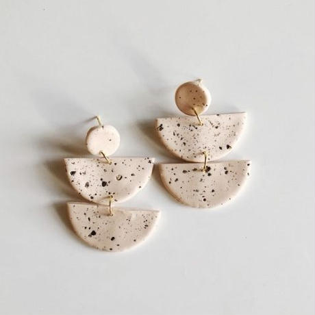 Speckled Nude Half Moon Earrings